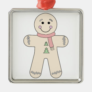 Gingerbread man for Christmas Silver-Colored Square Decoration