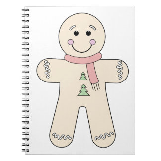 Gingerbread man for Christmas Spiral Notebook