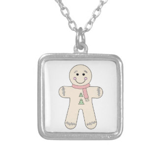 Gingerbread man for Christmas Square Pendant Necklace