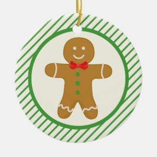 Gingerbread Man; Green Diagonal Stripes Christmas Tree Ornament