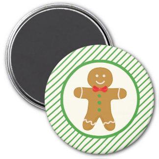 Gingerbread Man; Green Diagonal Stripes Fridge Magnets