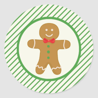 Gingerbread Man; Green Diagonal Stripes Stickers