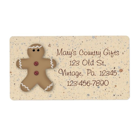 Gingerbread Man Holiday Label Shipping Label