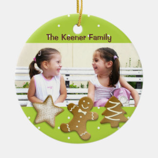 Gingerbread man holiday sugar cookies photo green Double-Sided ceramic round christmas ornament