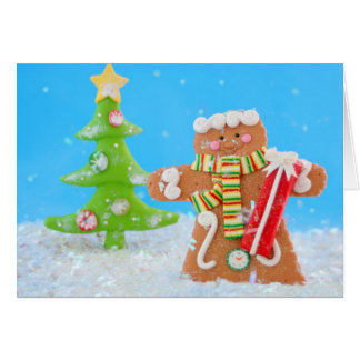 Gingerbread man in christmas wonderland card