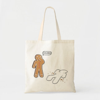 Gingerbread man Ironic Crime scene 'CRUMBS' Budget Tote Bag
