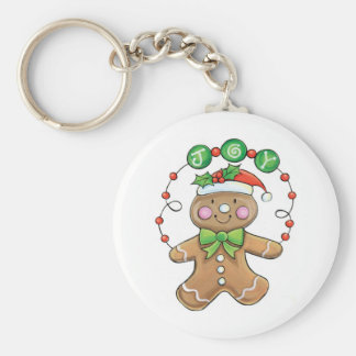 "Gingerbread Man ""Joy"" for Christmas Basic Round Button Key Ring"