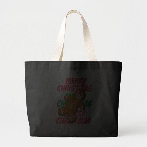 Gingerbread Man Merry Christmas Bag (Black)