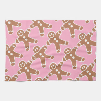 Gingerbread Man on Pink Tea Towel
