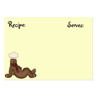 Gingerbread Man Recipe Card Large Business Cards (Pack Of 100)