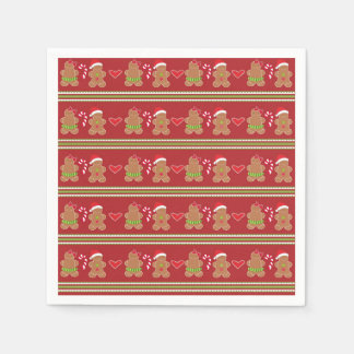 Gingerbread Man Red and Green Horizontal Stripes Paper Napkin