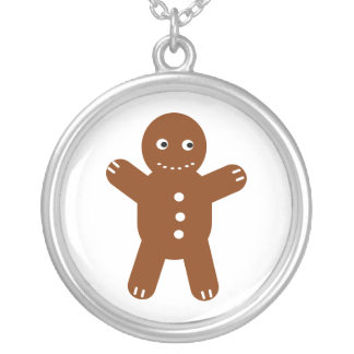 gingerbread man round pendant necklace