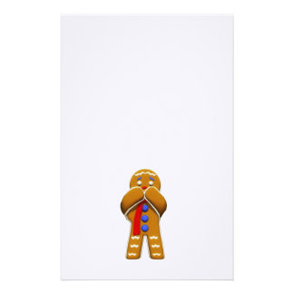 Gingerbread Man - Scared - Original Colors Stationery Paper
