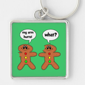 gingerbread man Silver-Colored square key ring