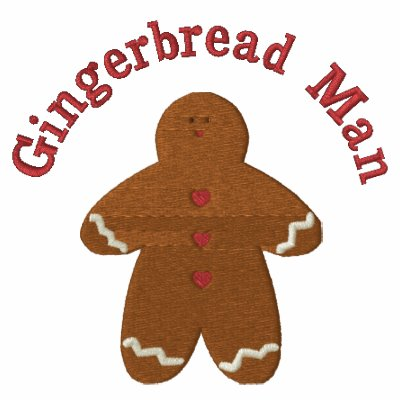 Gingerbread man smaller custom embroidery design for Custom embroidered polo shirts no minimum order