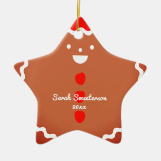 Gingerbread man star Christmas cookie ornament
