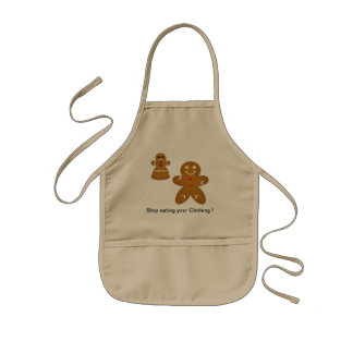Gingerbread Man Stop eating your Clothing Kids Apron