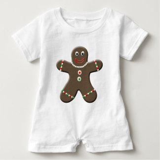 Gingerbread Man White Holiday Baby Boy Shirt