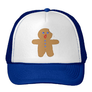 Gingerbread Man with Bite Halloween Crossover Mesh Hat