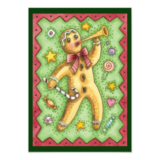 Gingerbread Man with Christmas Candy Invitation