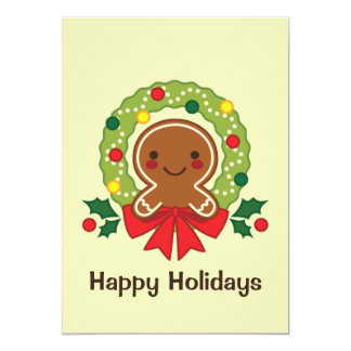 Gingerbread Man with Christmas Wreath Illustration Card