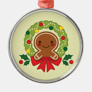 Gingerbread Man with Christmas Wreath Illustration Christmas Ornament