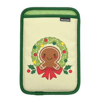 Gingerbread Man with Christmas Wreath Illustration iPad Mini Sleeve