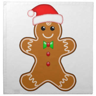 Gingerbread man with hat cloth napkins