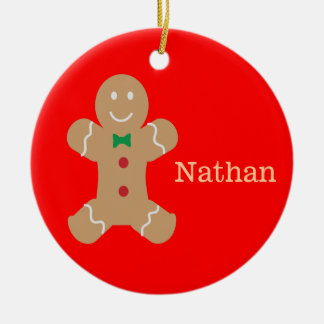 Gingerbread Man with Name Round Ceramic Decoration