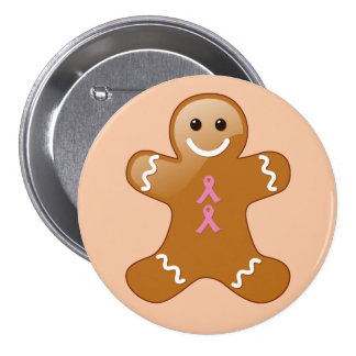 Gingerbread Man with Pink Ribbons 7.5 Cm Round Badge