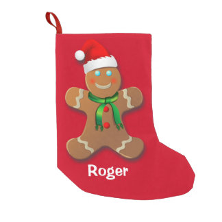 Gingerbread Man With Red Christmas Hat Small Christmas Stocking