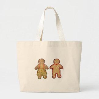 Gingerbread man & woman cookies large tote bag