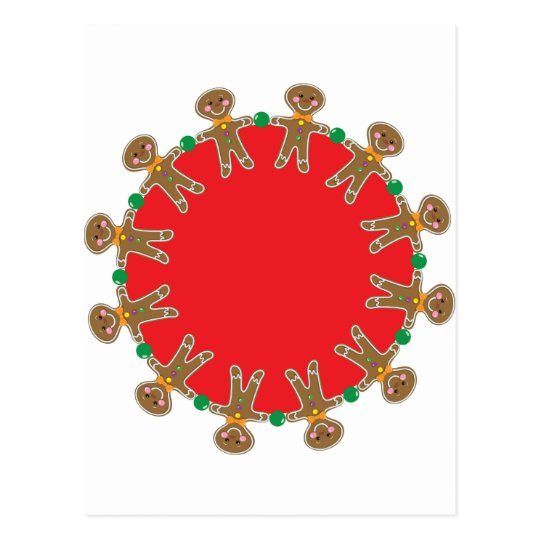 Gingerbread Man Wreath Postcard
