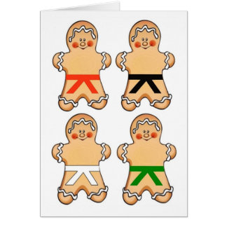 Gingerbread Martial Artists Holiday Greeting Cards