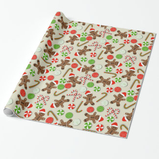 Gingerbread Men and Candy Wrapping Paper