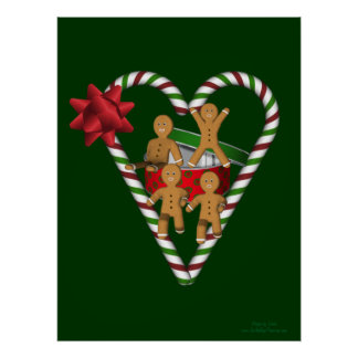 Gingerbread Men Candy Cane Heart Poster Print