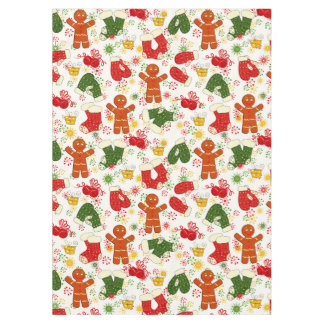 Gingerbread Men Colorful Retro Christmas Holiday Tablecloth