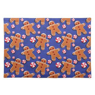Gingerbread Men Cookies Candies  Blue Place Mats