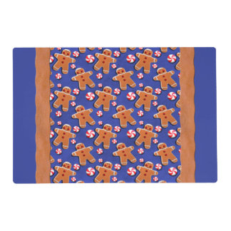Gingerbread Men Cookies Candies Blue Laminated Placemat
