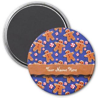 Gingerbread Men Cookies Candies Blue 7.5 Cm Round Magnet