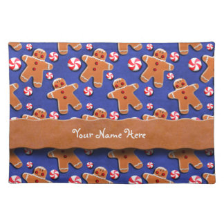 Gingerbread Men Cookies Candies Blue Placemats