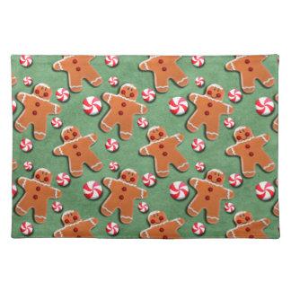 Gingerbread Men Cookies Candies Green Placemats