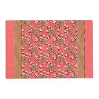 Gingerbread Men Cookies Candies Red Laminated Place Mat