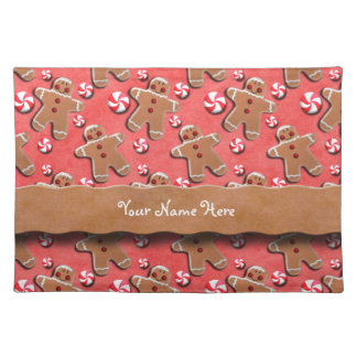 Gingerbread Men Cookies Candies Red Place Mat