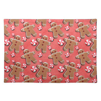 Gingerbread Men Cookies Candies Red Placemat