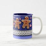 Gingerbread Men Cookies Candies Sprinkles Blue Mug