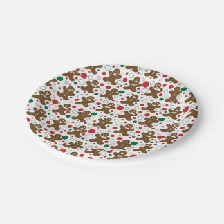 Gingerbread Men Holiday Pattern Paper Plate