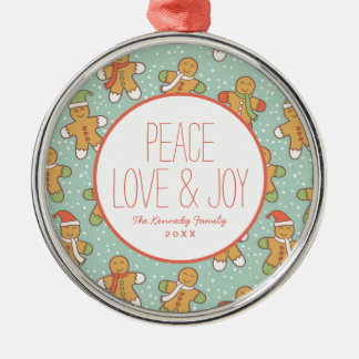 Gingerbread men pattern christmas ornament