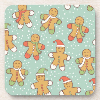 Gingerbread men pattern coaster