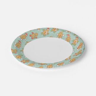 Gingerbread men pattern paper plate
